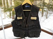 Polo Ralph Lauren Men's L Vintage Rare Black Canvas Fleece Trim Fly Fishing Vest