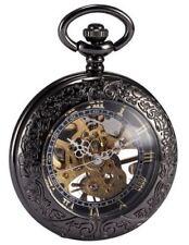 AMPM24 Steampunk Skeleton Mechanical Copper Fob Retro Pendant Pocket Watch