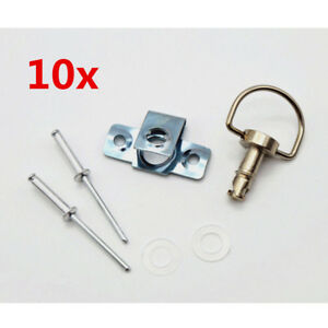 "10x 1/4"" Race Motorcycle Quick Latch Turn Lock Fairing Fastener Pin Clip D-Type"