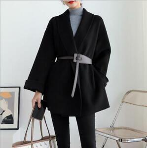 Women's Ladies Korean Fashion Belt Loose Faux Wool Wrap Coat Jacket Outwear SKGB