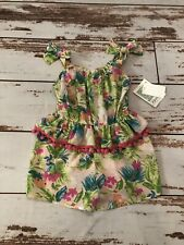 NWT Bonnie Jean Tropical Pink Floral Pom Pom Romper Size 6