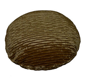 mp04n Bronze Brown Folds Shimmer Velvet Round Cushion Cover/Pillow Case Custom