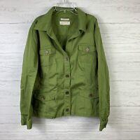 Jones New York Women's Jacket Size L Green Pockets Button Down Collared