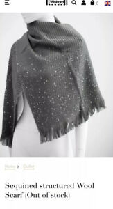Wolford Sequined structured Wool Scarf - In Graphit/Grey