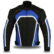 Motorbike Motorcycle Waterproof Racing Cordura Textile Jacket Blue/Black, Medium