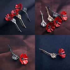 Enamel Red Poppy Flower Brooch Men Lapel Collar Pin Badge Banquet Jewelry Gift