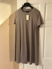 BNWT Capsule Wardrobe Staple Grey Ribbed Short Sleeve Skater Dress Sz 22