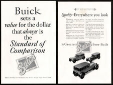 1927 BUICK Lot of 2 Vintage Antique Print Advertisement AD - Quality Collector