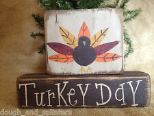 Primitive Country Turkey Turkey Day Thanksgiving  Fall Holiday Wood Block Set
