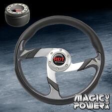 Chrome/ Carbon Fiber PU Steering Wheel + Hub Adapter For Honda Civic 1984-1987