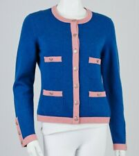 $3545 New Chanel Cashmere Pink Dark Blue JACKET COAT CARDIGAN 42 44 CC BUTTONS