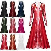 Womens Floral Lace Front Open Maxi Long Sleeves Waterfall Ladies Maxi Cardigan