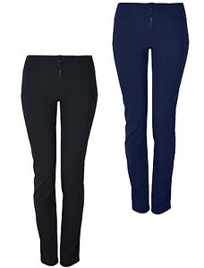 Womens Smart Slim Fit Stretch Trousers Uniform Work Office Multi Leg KK30/31/32