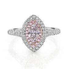 Real 1.00ct Natural Fancy Pink Diamond Engagement Ring 18K Solid Gold Marquise