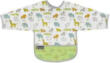 Kushies Cleanbib Waterproof Bib with Sleeves 12-24M White Little Safari