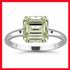 3.70ct VS2/OFF WHITE EMERALD MOISSANITE & NATURAL BLACK DIAMOND.925 SILVER RING