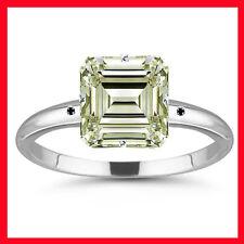 5.60ct VVS1/OFF WHITE EMERALD MOISSANITE & NATURAL BLACK DIAMOND.925 SILVER RING