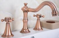 Antique Red Copper Double Cross Handles 3 Holes Widespread Bathroom Sink Faucet