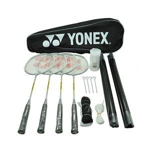 Yonex 4 Players Badminton Racquet Set Racket - Shuttlecocks -Net - Poles - Bag