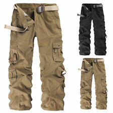 Mens Winter Cotton Fleece Lined Cargo Combat Outdoor Work Pockets Pants Trousers