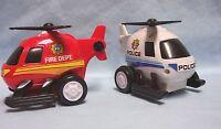 Toys Set of (2) Mini Emergency Vehicle Helicopters Pull Back Action E.BO Toys