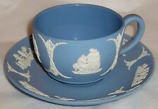 WEDGWOOD LT BL/WHT JASPERWARE 1953 CUP AND SAUCER
