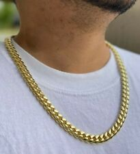 """Mens 14k gold Thick Miami Cuban Link Choker necklace chain Gold Filled 10mm 24"""""""