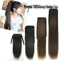 16''~26'' Clip In Ponytail Weaving 100%Real Human Hair One Hairpieces Extensions