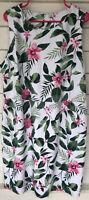 Old Navy XXL 2 Xl Floral White Pink Green Tropical Sleeveless Dress midi zip