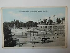 Swimming Pool Wilson Park Granite City Illinois USA Old Postcard