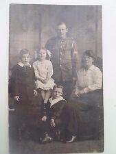 Vintage Old RPPC Soldier in Uniform, Wife & 3 Children Postally Unused