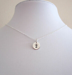 925 sterling silver LETTER INITIAL or NUMBER 9mm disc personalized necklace