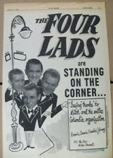 The Four Lads 1956 Ad- Standing On The Corner Columbia