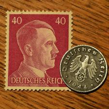 WORLD WAR 2 Artifact German Nazi Zinc Army Coin Third Reich Swastika + Stamp