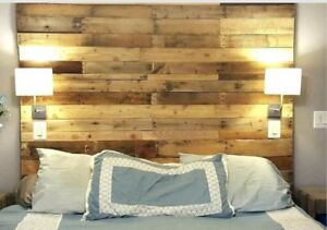 """Full Size Bed Reclaimed Pallet wood DIY Rustic Headboard 54"""" wide x 60"""" Tall"""