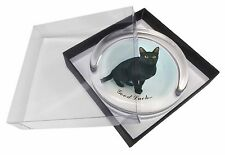Bombay Black Cat 'Good Luck' Glass Paperweight in Gift Box Christmas, AC-95glkPW