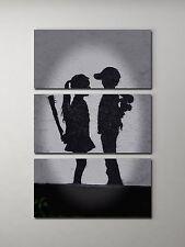 "Banksy Girl Meets Boy Stretched Canvas Triptych Print 48""x30"". BONUS WALL DECAL!"