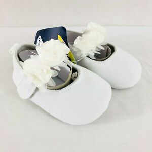 Baby Girls Mary Jane Crib Shoes Soft Sole Floral Slip On Ivory White Size 3