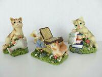 """Playful Cat Kittens 3""""-4"""" Resin Figurines Decor Gift Books Basket Vase Lot of 3"""