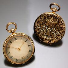 WOMENS 18K GOLD ABRAHAM LOUIS BREGUET KEYWIND POCKET WATCH WITH ORIGINAL BOX AND