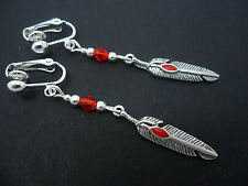 Feather Themed Clip On Earrings. New. A Pair Of Tibetan Silver Red Crystal