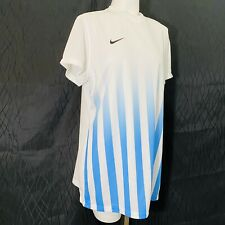 Nike Dri Fit V Neck Women Shirt Soccer Golf Tennis White & Blue X-Large (Xl)
