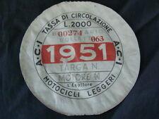BOLLO 1951 ACI TASSA CIRCOLAZIONE MOTOCICLI LEGGERI VESPA LAMBRETTA MOTO GUZZI
