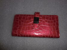 NEW Kenneth Cole Reaction Pink  Metallic Faux Croc Leather Bifold Wallet
