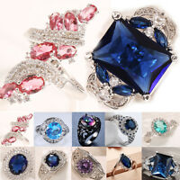 925 Silver Sapphire Topaz Women  Wedding Engagement Ring Size 6-10
