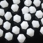 50pcs 6mm Bicone Faceted Crystal Glass Charms Loose Spacer Beads Porcelain White