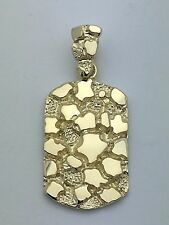 Brand New Solid 14K Yellow Gold Nugget Style Rectangle Charm Pendant 6.4 grams