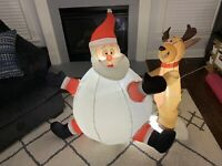 Gemmy Airblown Inflatable Snowball Santa With Reindeer