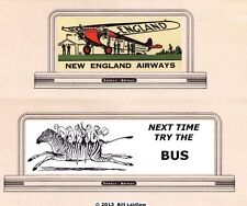 New England Airways and Zebra bus billboard signs #96, Standard or G scale