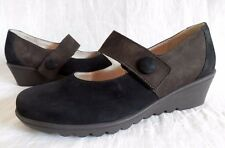 Waldlaufer Luftpolster Brown Suede Leather Mary Jane Wedge Shoes Womens Size 9M